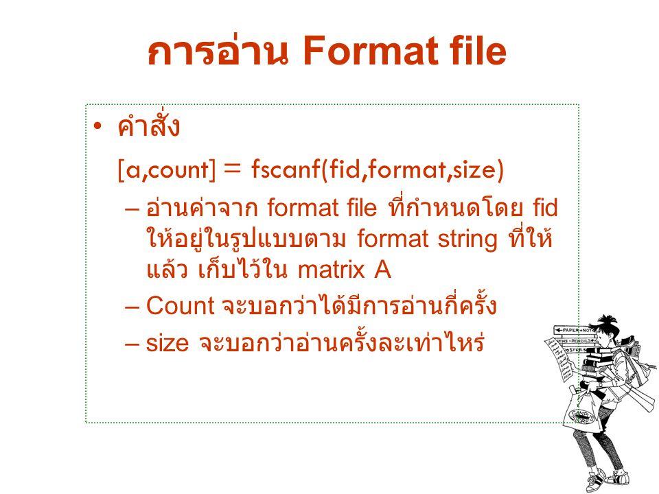การอ่าน Format file คำสั่ง [a,count] = fscanf(fid,format,size)